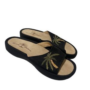 Tommy Bahama Palms Away Black Slip On Sandals 6